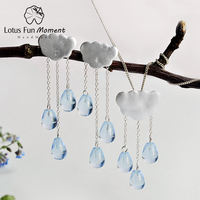 Lotus Fun Moment Real 925 Sterling Silver Natural Handmade Fashion Jewelry Ethnic Cloud Long Tassel Jewelry Set for Women