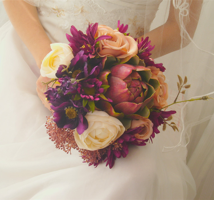Купить с кэшбэком Vintage purple bridal bouquet round style bouque de novia