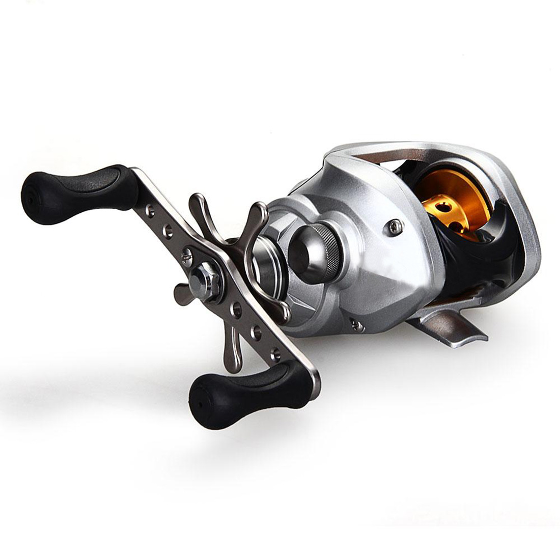 Hot Sale High Quality Metal Plastic Baitcast Baitcasting 9+1BB Bearing pesca Reel Handed Silver Handle