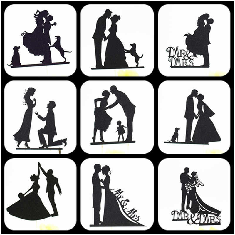 Cake Topper Wedding Black Party Supplies Bride And Groom Cake Topper Weeding Decoration For Weddings Mr Mrs Wedding Cake Topper