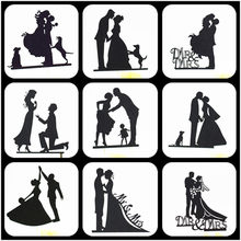 Cake Topper Wedding Black Party Supplies Bride And Groom Cake Topper Weeding Decoration For Weddings Mr Mrs Wedding Cake Topper(China)