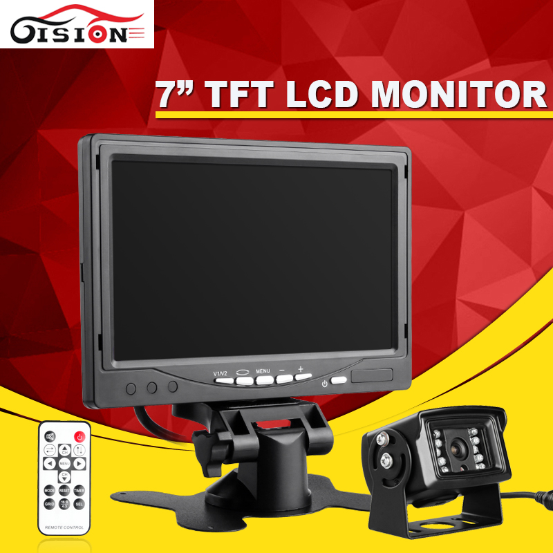 Gision Car Parking Monitor Kit 7inch LCD TFT Rearview Car Monitor With Backup 600TVL Outdoor Rear View Camera For Long Bus diysecur 4pin dc12v 24v 7 inch 4 split quad lcd screen display rear view video security monitor for car truck bus cctv camera