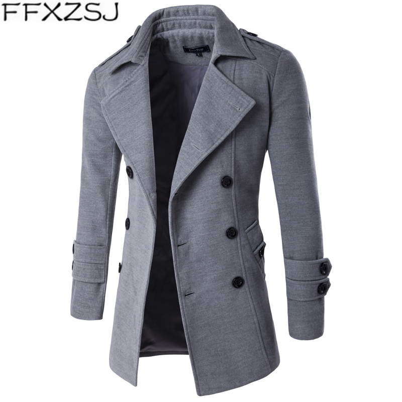 FFXZSJ Brand Men's winter 2019 lapel casual overcoat long double-breasted trench coat