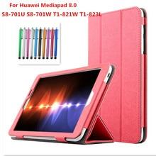 Tirón de la manera soporte plegable case cubierta para huawei mediapad t1 8.0 s8-701u/s8-701w/t1-821w/t1-823l 8.0 pulgadas tablet cases + pluma