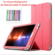 Fashion Flip Folding stand Case Cover For HuaWei MediaPad T1 eight.zero S8-701U/S8-701W/T1-821W/T1-823L eight.zero inch Tablet instances + pen