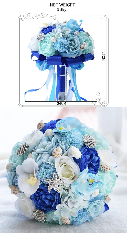 Eternal Angel 2018 new hand made silk blue flowers Bridal bouquet ...