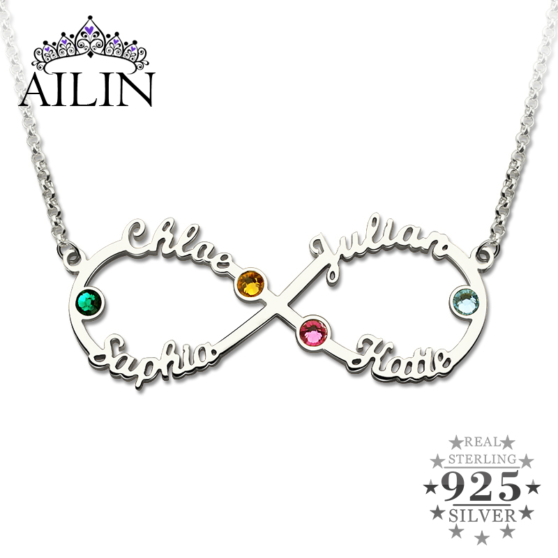AILIN Silver Infinity 4 Names Necklace with Birthstones Personalized Infinity Necklace Mother's Necklace Birthstone Jewelry цена и фото