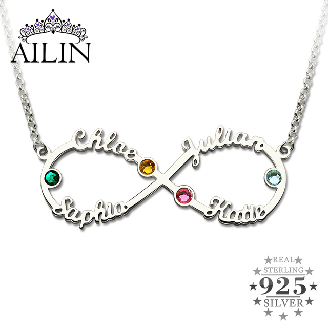 42c2acd37db0 AILIN infinito de plata 4 nombres collar con piedras infinito personalizada  collar madre collar de joyas