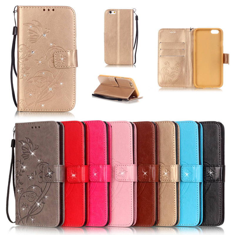 Para iPhone 7 8 Plus Funda de cuero con billetera de cuero con estilo de libro Bling de lujo para iPhone 6 6plus 6S Plus 5 5S SE 5C 4 4S Funda