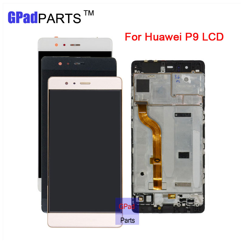 GPadparts 100% Guarantee For Huawei Ascend P9 LCD Display screen + Touch Screen Digitizer With Frame Assembly white lcd display touch screen digitizer glass assembly frame for huawei ascend p7 p7 l10