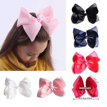 8 Inch Hot Solid Hair Bows Clips Kids' Hairgrips Ribbon Bowknot Hairbow Children Jumbo Hairclips Handmade Girls Hair Accessories 1 set 2pcs 4 5 girls 2 color linen plaid hairgrips hairbow hair accessories with alligator clip handmade for children hair bow