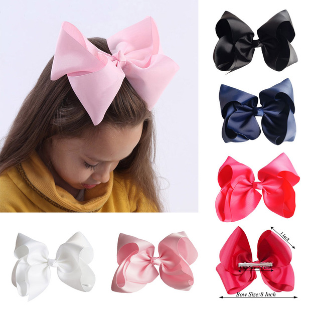 8 Inch Hot Solid Hair Bows Clips Kids' Hairgrips Ribbon Bowknot Hairbow Children Jumbo Hairclips Handmade Girls Hair Accessories