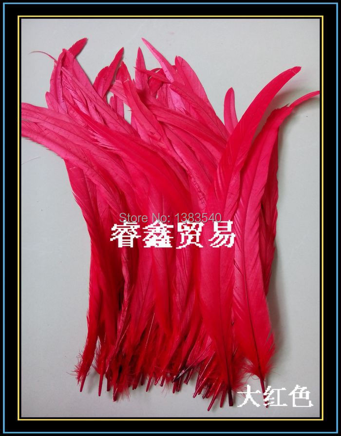 Wholesale! 100pcs natural rooster tail hair red 30-35 cm / 12 - 14 inches