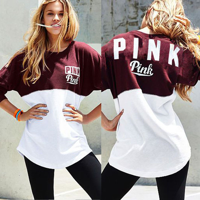 2017 Harajuku Spring Summer Women Letter Printed Brand Pink T-shirt Womens Clothing Tee Fashion short Sleeve T shirts O-neck Top