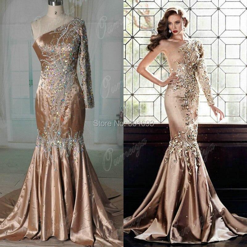 Long Sleeve One Shoulder Prom Dress