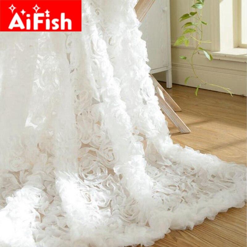 Pastorale Coréen Creative Blanc Dentelle 3D Rose Rideaux Voile Personnalisé Fenêtre Écrans Pour Mariage Salon Chambre AF031-30