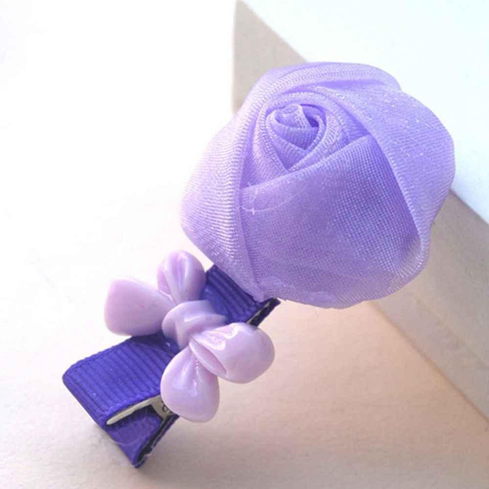 Комплект из 2 предметов, Новое поступление девушки шелковой пряжи бутонами роз смолы детское нижнее белье с бантом Шпилька Сторона волос зажим, аксессуар для волос Цвет в случайном порядке