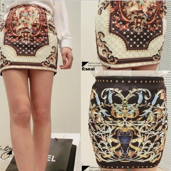 2014 New Style RETRO women skirts chiffon print brand elegant ladies mini sexy slim Pencil 8038 - Shenzhen 888 Boutique store