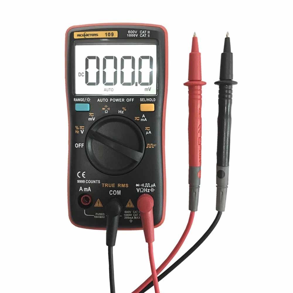 Multimetro digitale 9999 conti Onda Quadra Retroilluminazione AC DC Amperometro Tensione Corrente Ohm Auto/Manuale RM109 Palm-size True-RMS