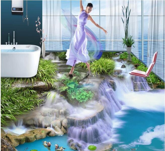 3 d pvc flooring custom wall paper  Water falls 3 d stereograph bathroom flooring murals photo wallpaper for walls 3d