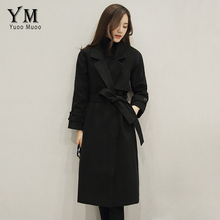 YuooMuoo Brand Design Women Long Coat Slim Turn-down Collar Wool Coat Street Fashion Autumn Winter Jacket Black Coat with Belt