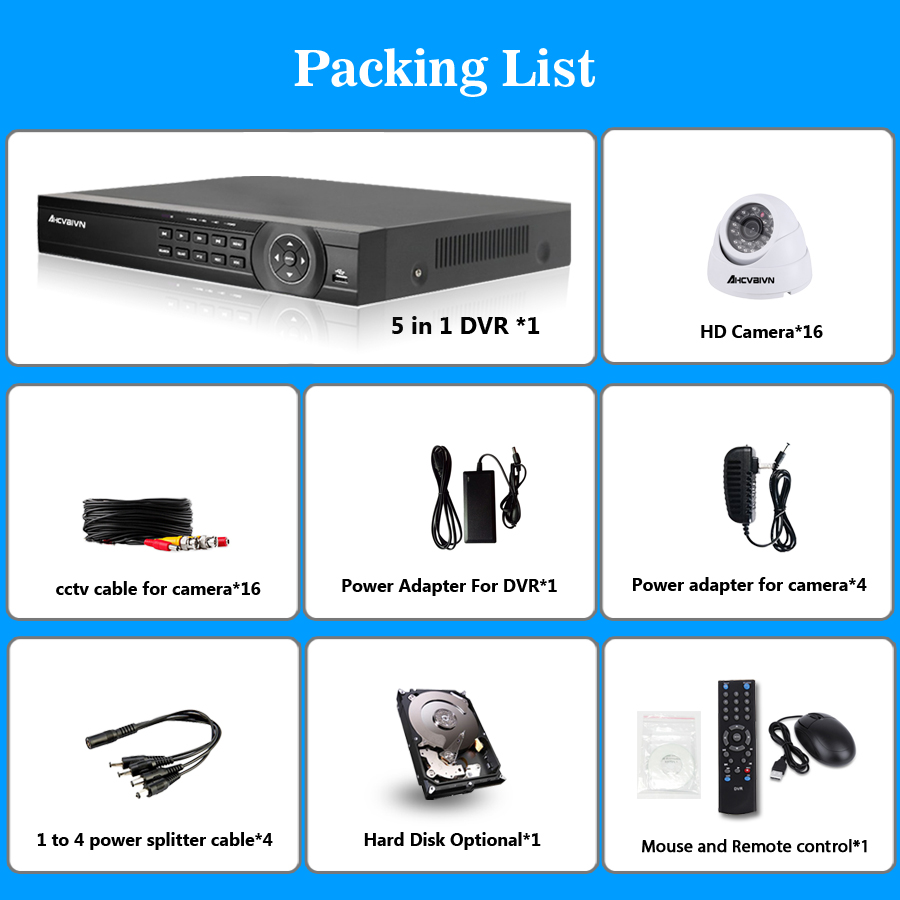 AHD CCTV System 16CH DVR Kit 16 Channel 1080P DVR With IR Day Night 2000TVL Security Dome CCTV Camera Video Surveillance System in Surveillance System from Security Protection