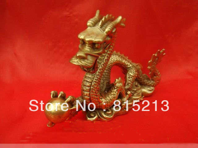 "Estatua de estatuilla de dragón de bronce chino bi0096 4 ""L"