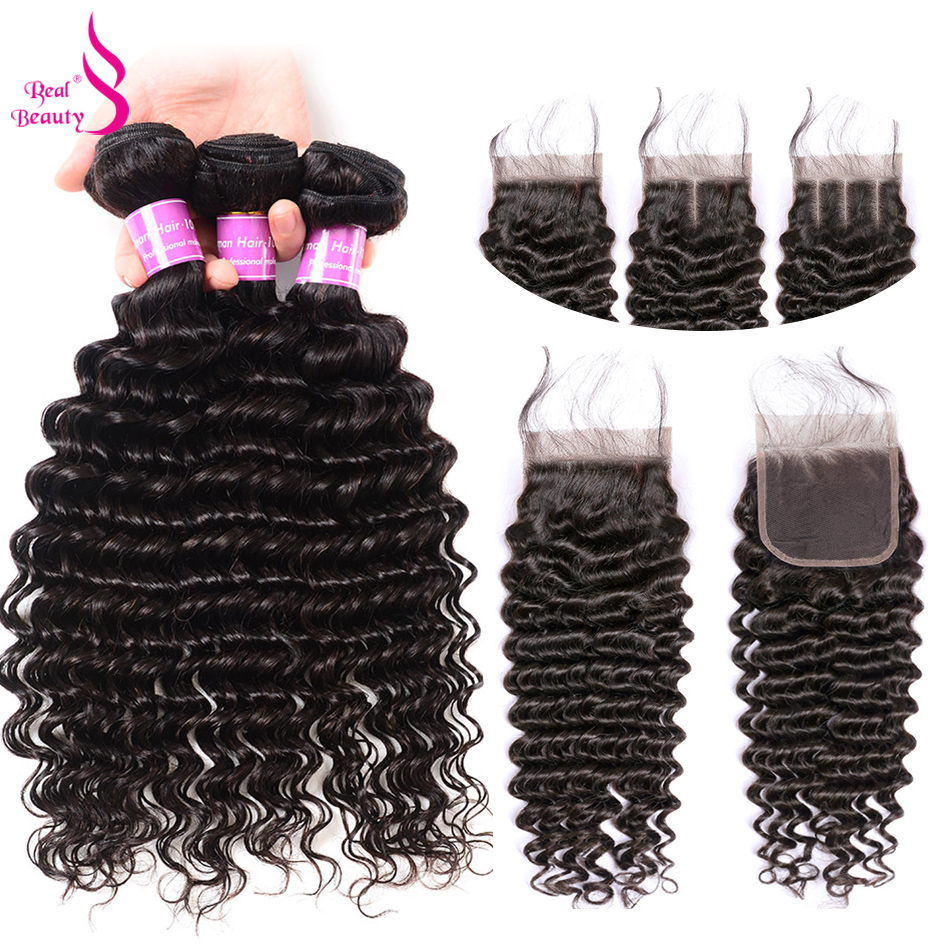 Real Beauty Indian Human Hair Weave Bundles With Closure Remy Hair Lace Closure With 3 4