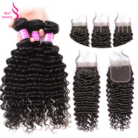 Real Beauty Indian Human Hair Weave Bundles With Closure Remy Hair Lace Closure With 3/4 Bundles Deep Wave Bundles With Closure
