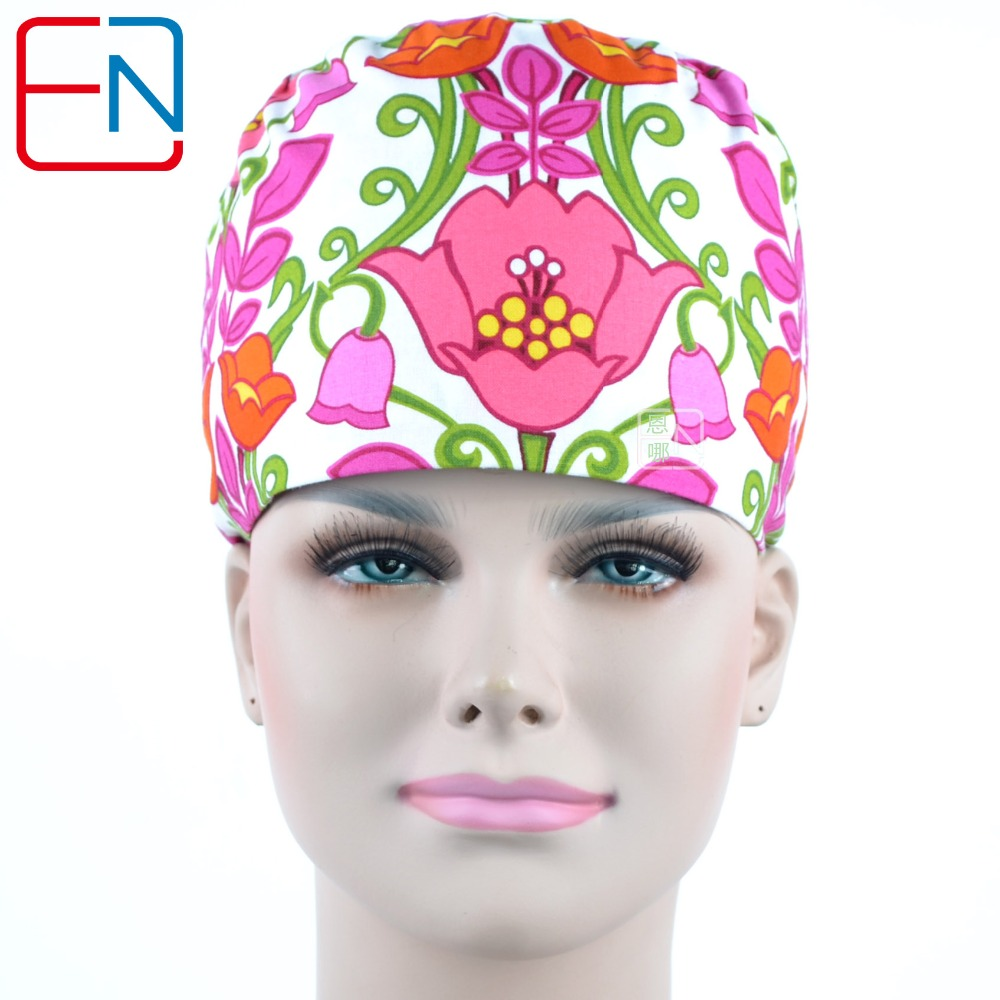 Long Hair Scrub Hats For Female  100% Cotton Print  Fibre  With Sweatband