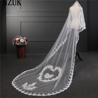 Free Shipping 3 Meters Two Layer Ivory White Wedding Veil Lace Edge Applique Bridal Veil Soft