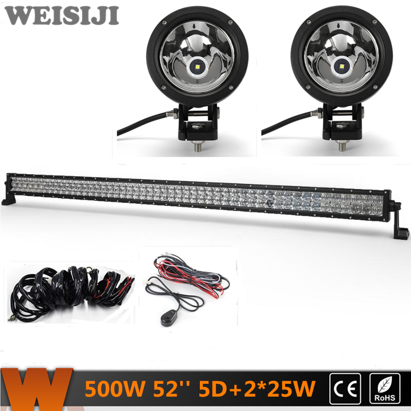 WEISIJI 500W 52'' Dual-row 5D LED Light Bar+2Pcs 25W 4*4 Offroad LED Work Lights+2Pcs Wiring Kit Sets for Jeep Truck SUV ATV UTV видеоигра бука saints row iv re elected