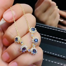 shilovem 925 silver sterling real Natural sapphire PENDANTS fine Jewelry trendy necklace plant new gift jcz030498agl