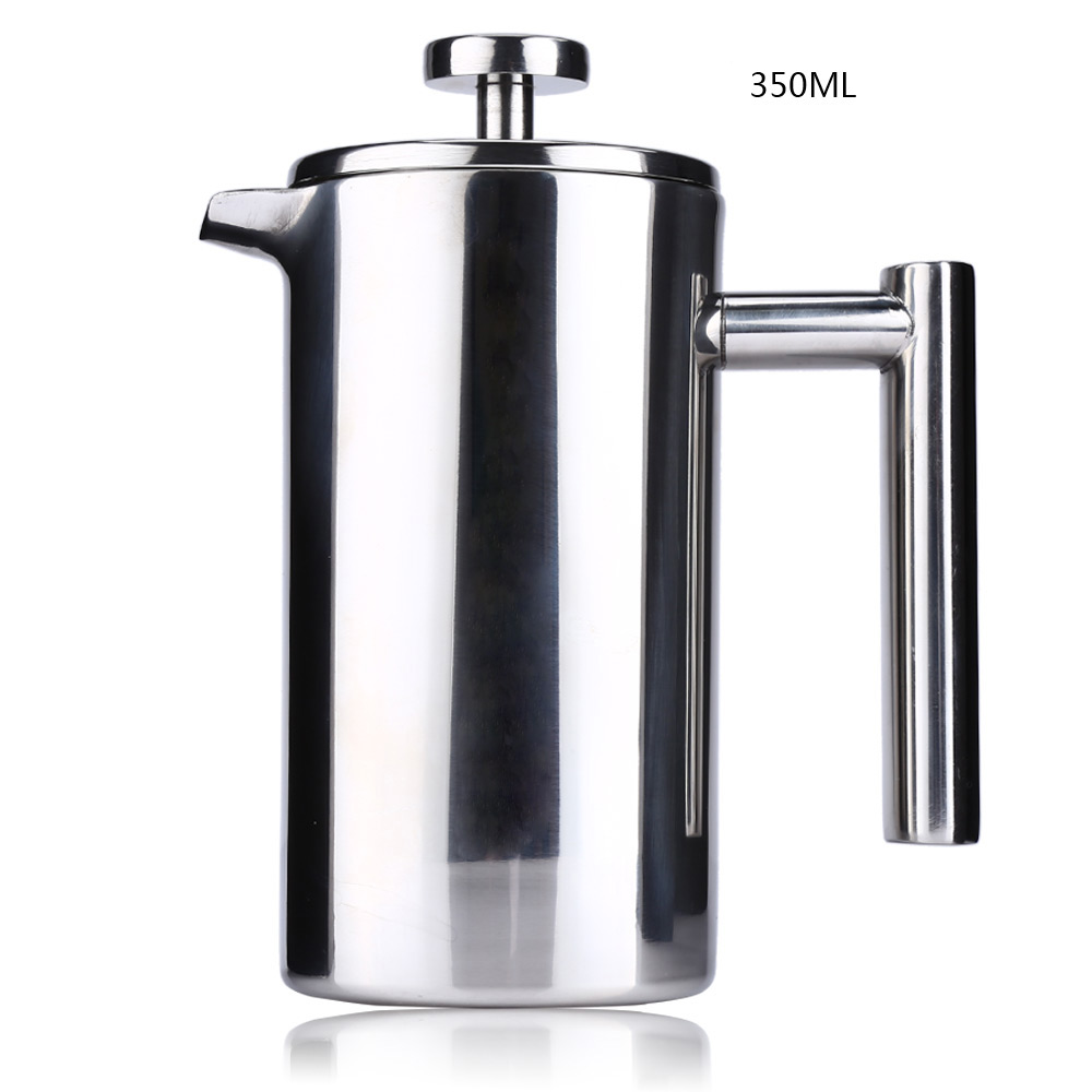 350ML Stainless Steel Coffee Pot French Press With Coffee Filter Baskets Espresso Tea Maker Double Wall French Cafetiere