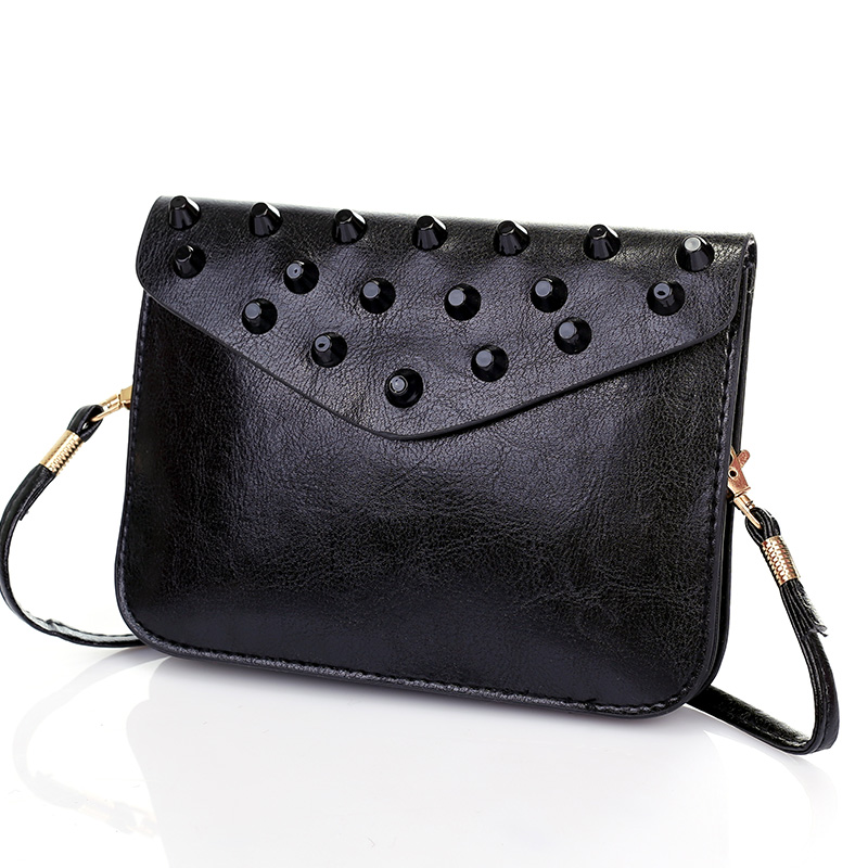 Vintage fashion design brand women messenger bags lady rivet bag female party crossbody bags clutches purse fashion wallet T126 female brand design women bag fashion rivet messenger bags solid pu leather clutch bag vintage crossbody bag punk women handbag