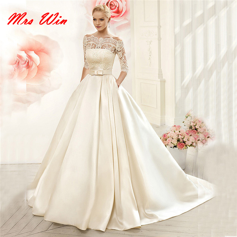 Elegant Ball Gown Half Sleeves Lace Satin Wedding Dress With Jacket Long Beige Sashes Hu Da Beauty W143 In Dresses From Weddings