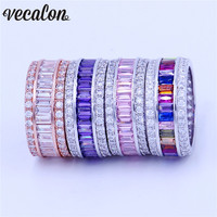 Vecalon 4 colors Women Birthstone Jewelry ring 15ct 5A Zircon Cz 925 Sterling silver Engagement wedding Band ring for women men
