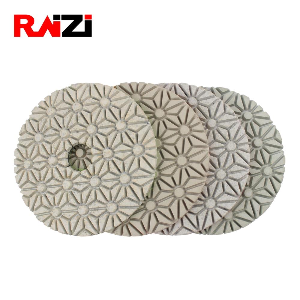 Raizi 100mm Wet 3 Step Diamond Sanding Discs For Granite Marble Stone Abrasive Diamond Polishing Pads Kit
