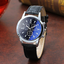 Fashion Faux Leather Mens Analog Quartz Watch Blue Ray Men W