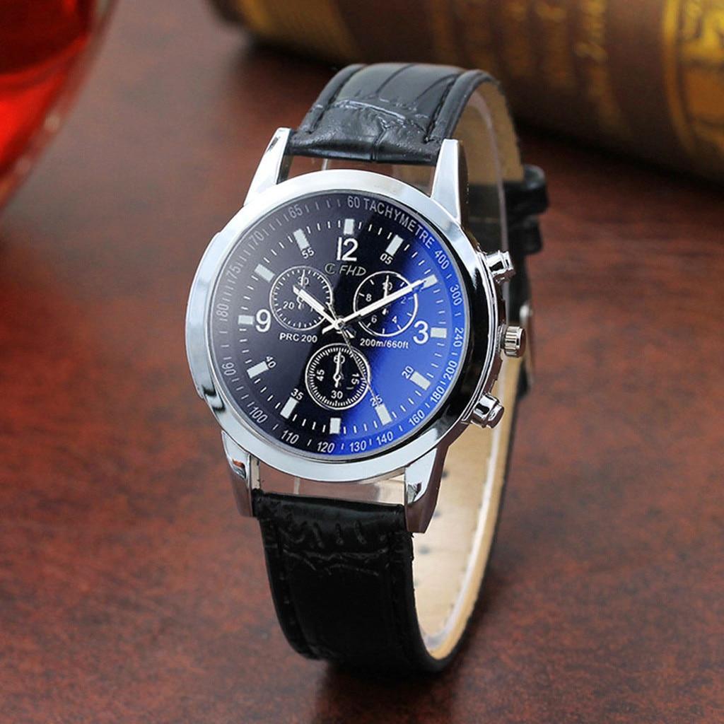 Fashion Mens Analog Quartz Watch Blue Ray Men Wrist Watch 2019 Mens Watches Top Brand Luxury Casual Watch Clock @9