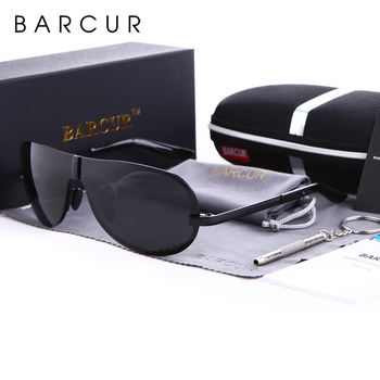 BARCUR Polarized Black Sunglasses Male Rimless Yellow Glasses Men Driving Night Vision Eyewear Accessories Oculos