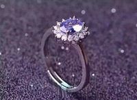 Natural blue tanzanite stone Ring Natural gemstone Ring S925 sterling silver trendy Elegant Diana women's party fine Jewelry