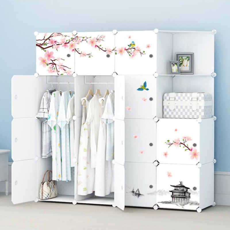 2019 Simple Portable Wardrobe Assembly Plastic Folding Wardrobe Closet Bedroom Locker Space Saving Wardrobe with Deco Sticker(China)