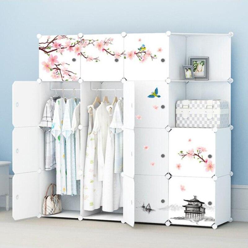 2019 Simple Portable armoire assemblage en plastique pliant armoire placard chambre casier gain de place armoire avec autocollant déco