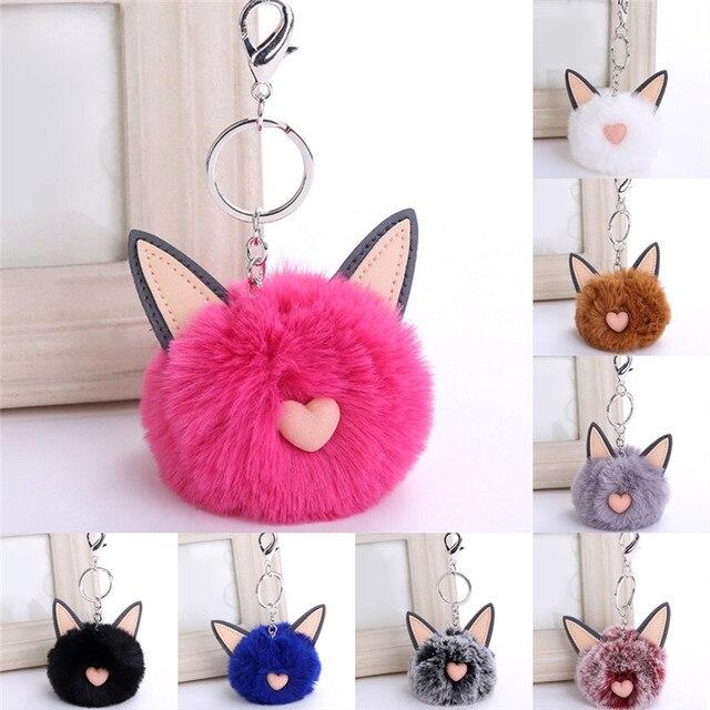 New Fluffy Faux Rabbit Ear Fur Ball Key Chain Holder Pompom Artificial  Rabbit Fur Keychain Women Car HandBag Keyring 206e98fd33