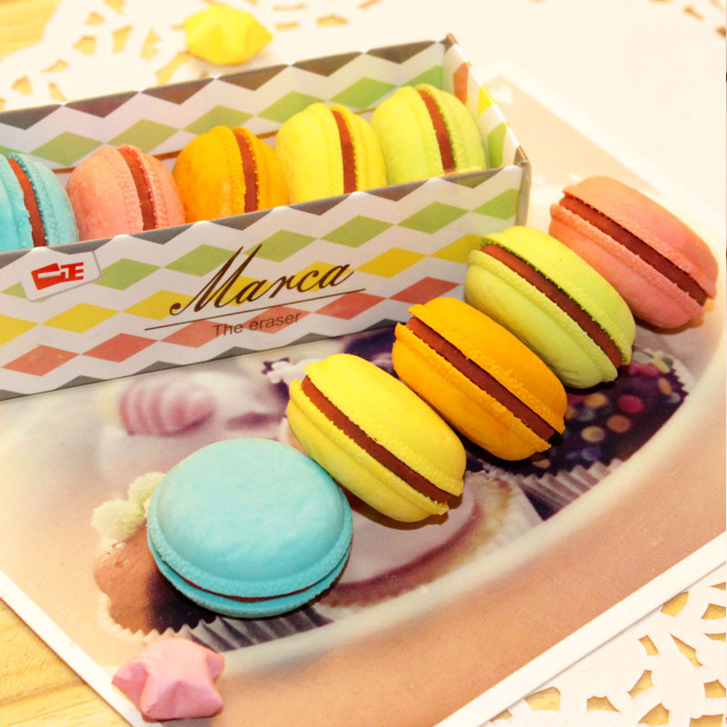 5 Pcs/set Macaron Color Erasers Cute Cake Rubber Earser For Kids Borracha Funny Stationery Material Escolar School Supplies