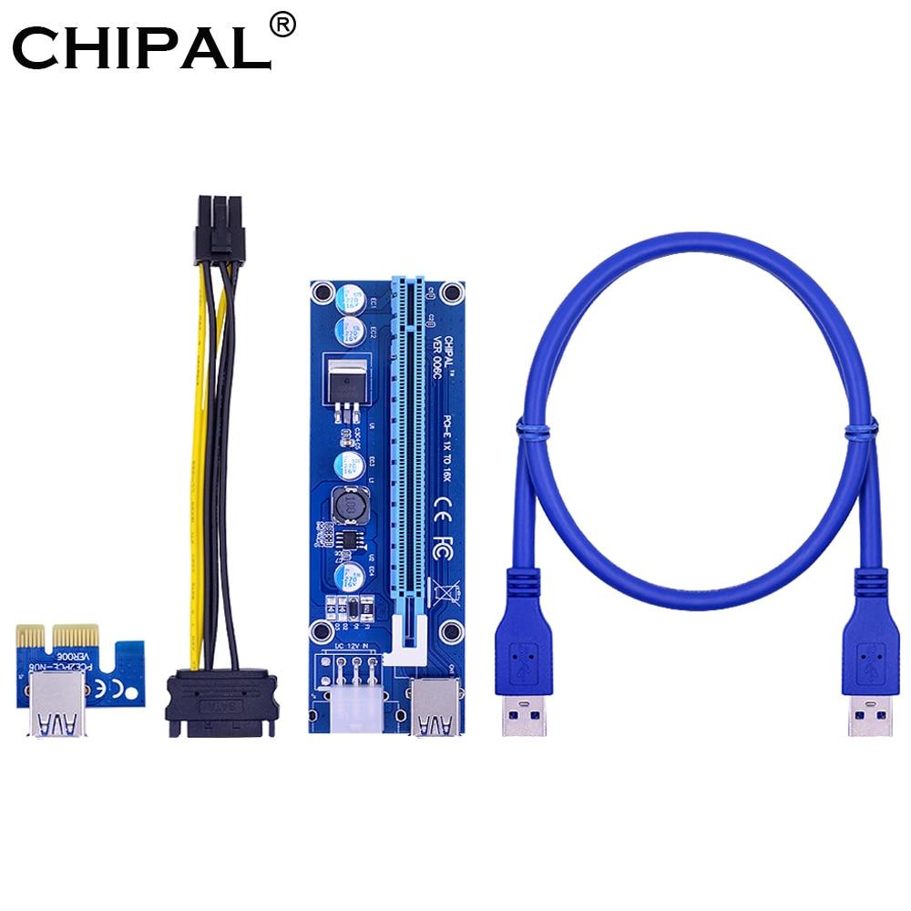 CHIPAL VER006C PCI-E карта расширения 006C PCIE 1X до 16X расширитель 60 см 100 см USB 3,0 кабель SATA к 6Pin шнур питания для майнинга графического процессора