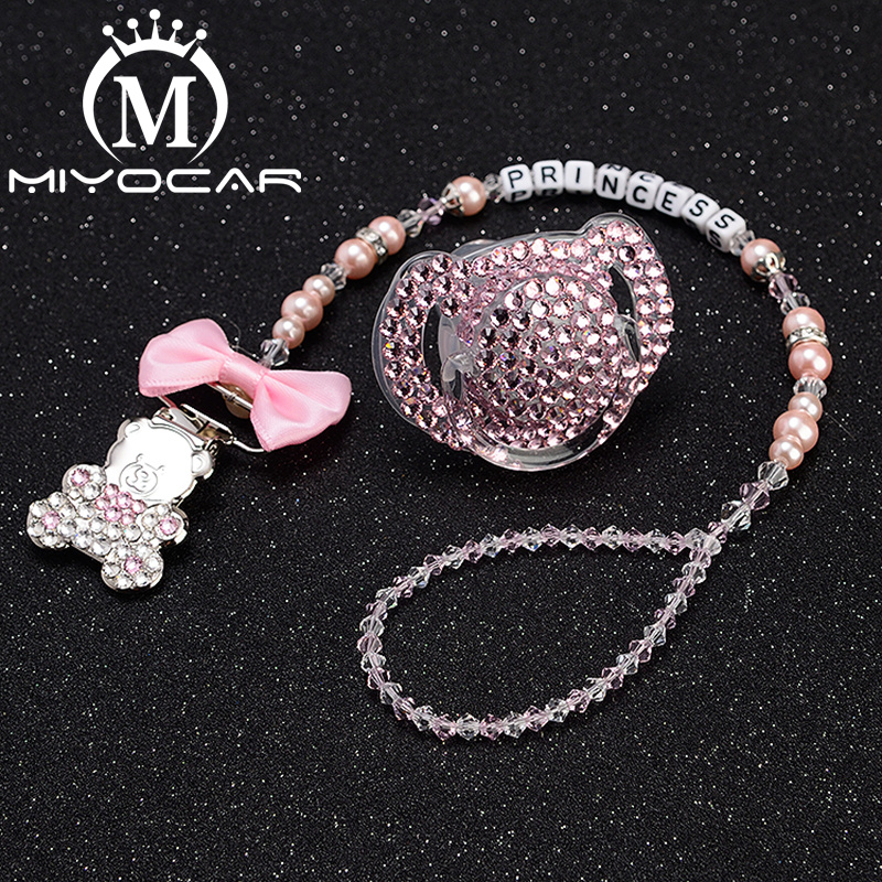 MIYOCAR Any Name Pacifier Clip Dummy Clip Pacifier Holder With Pacifier Set Princess Style Bling Set Unique Gift SP001