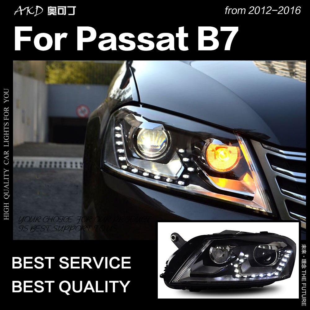 AKD Car Styling for VW Passat B7 Headlight 2012 2016 Passat Europe LED DRL Hid Head