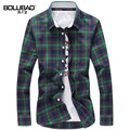 New Spring High Quality Fashion Men Plaid Shirt Turn-down Collar Casual Shirts Cotton Slim Fit Men Striped Men Shirt Clothes